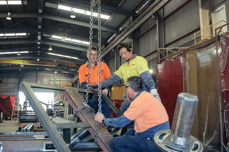 Future Engineering's team fabricating steel structures in the workshop