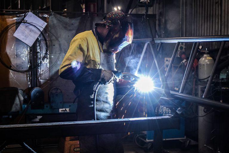 Future Engineering engineer welding steel for telecommunication mast